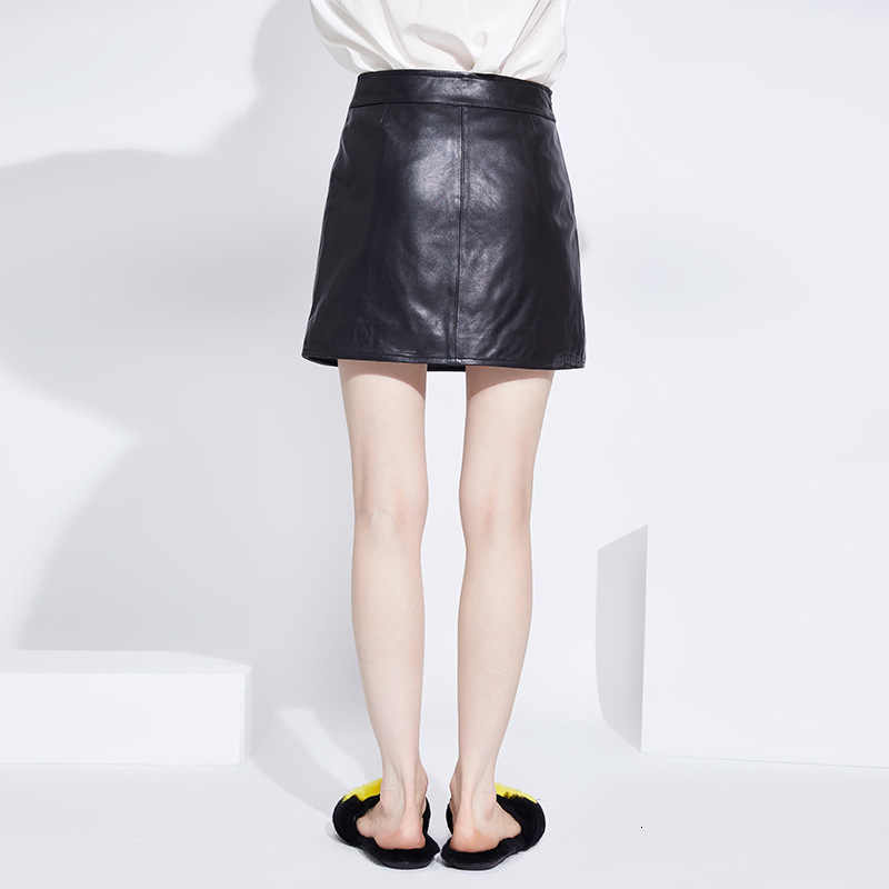 2020 New Fashion Office Ladies Bodycon Mini Skirts Top Quality Genuine Leather Summer Sexy Black Women Slim Fit High Waist Skirt