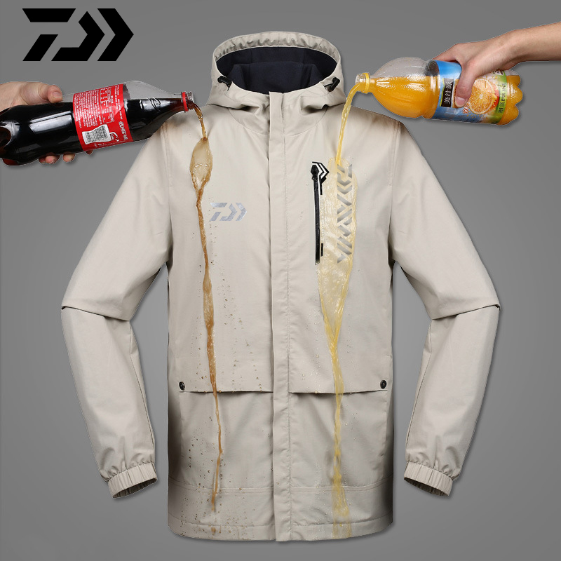 Reflective Daiwa Fishing Clothing Tech Hydrophobic Fishing Clothes Outdoor Camping Keep Warm Hooded Jackets Waterproof Quick Dry
