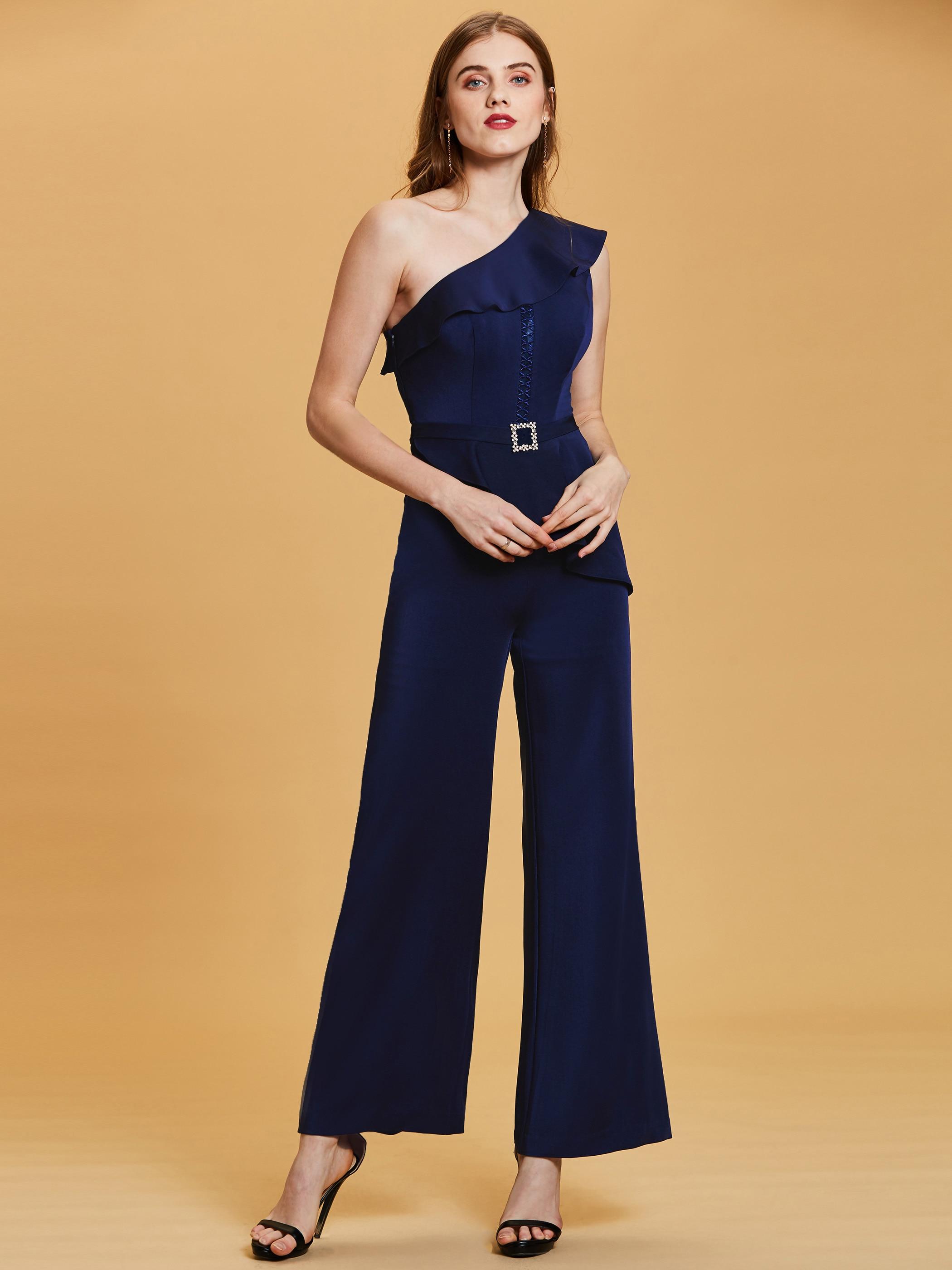 Ruffles One Shoulder Beading Women Jumpsuits Summer Women's Cloth Black Blue One Pieces Suit Elegant Formal Evening Dresses