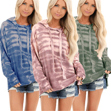 2019 Women Sweatshirts Autumn Winter Casual Hoodie Long Sleeve Tie Dyeing Pullover Jumper Womens Sweatshirt S-XXXL marled self tie pullover sweatshirt