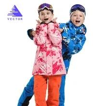 Векторные Детские Лыжные уличные водонепроницаемые куртки для сноубординга, комплект со штанами, лыжный костюм, зимняя теплая детская одеж...