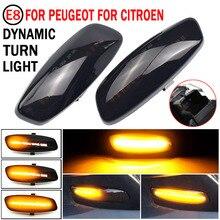 2 adet LED dinamik yan Marker dönüş sinyali flaşör akan su flaşör yanıp sönen ışık Peugeot RCZ için 2010 2015