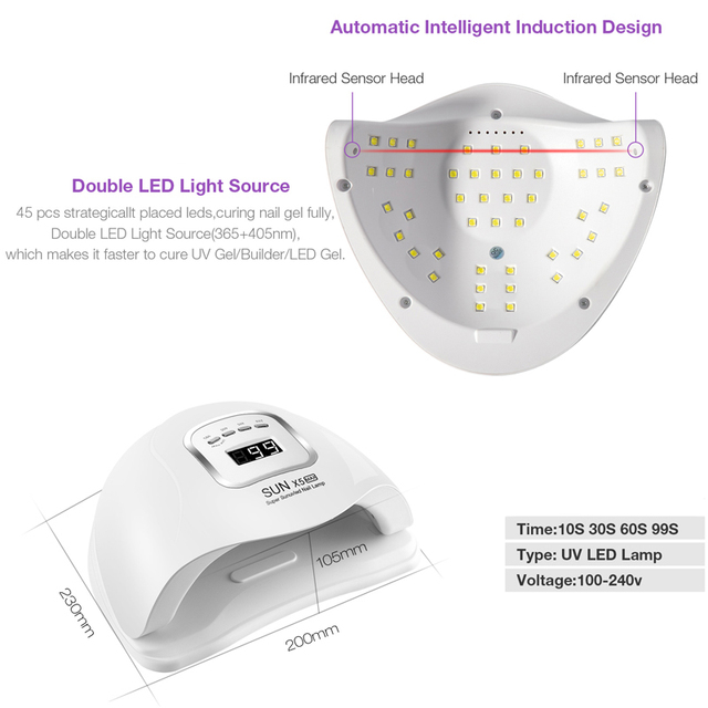 Dmoley 120W/54W UV Led Lamp Nail Dryer For All Types Gel 45/36 PCS LED Lamp for Nails New Design Nail Art Manicure Tools