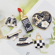 6pcs/pack Alloy Enamel Lipstick Charms Black Tone Female Supplies Pendant For Women Bracelet Jewelry Making Accessory 5pcs alloy enamel heels hat coat charms with artificial pearl gold tone charm for women earring bracelet jewelry diy accessory