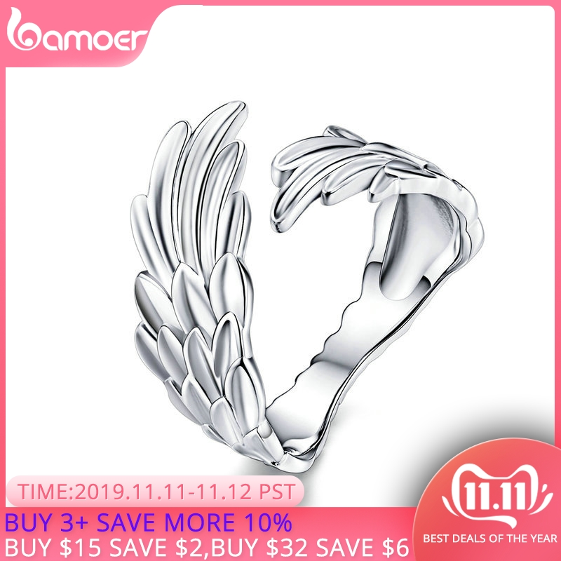BAMOER Guardian Wings Ring Authentic 925 Sterling Silver Free Size Adjustable Finger Rings For Women Fashion Jewelry SCR512