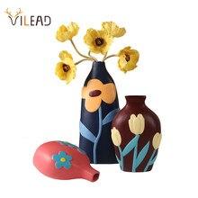 VILEAD-florero de cerámica con forma de bote cilíndrico, adorno moderno para mesa de salón, regalo de Navidad
