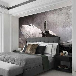 Image 3 - Papier peint Mural personnalisé Style européen nostalgique avion fresque salon TV canapé Restaurant fond créatif décor Mural 3D