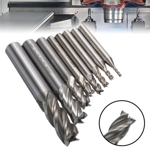 8 adet HSS karbür düz şaft freze kesicisi kiti seti 4 flüt uç freze CNC kesici matkap ucu aracı 2/3/4/5/6/8/10/12mm