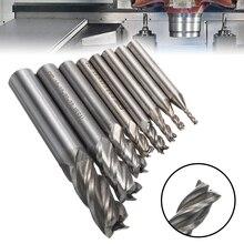 8PCS HSS Hartmetall Gerade Schaft Fräser Kit Set 4 Flöte Ende Mühle CNC Cutter Bohrer Werkzeug 2/3/4/5/6/8/10/12mm