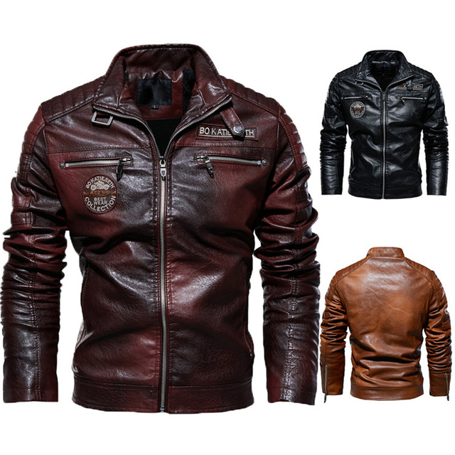 Leather Jacket Men Winter Fleece Motorcycle PU Leahter Jacket Male  Stand Collar Casual Windbreaker Ropa De Hombre Slim Coat 4XL 6