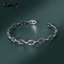 Kinel Hot Selling 925 Sterling Silver Vintage Pattern Open Bracelet Bangle For Women Wedding Bangle 925 Jewelry slovecabin 2017 new unique moment open bangle bracelet for women 925 sterling silver pave stone open bangle for bead diy jewelry