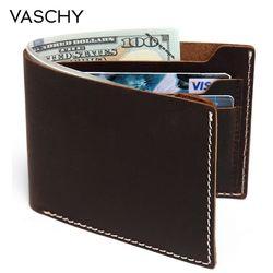 VASCHY кожаный бумажник для мужчин, винтажный двойной кошелек, тонкий с 6 отделениями для карт, кошелек из воловьей кожи для кредитных карт