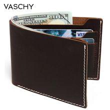 VASCHY 가죽 지갑 남성용 빈티지 Bifold 지갑 Slimfold 6 카드 슬롯 신용 카드 용 쇠가죽 채찍으로 치다 가죽 지갑