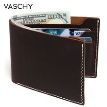 VASCHY Leather wallet for men Vintage Bifold Wallet Slimfold with 6 Card Slots Cowhide Leather Wallet for Credit Card