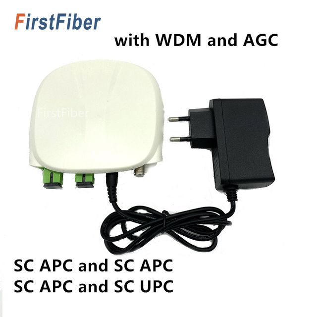 Receptor óptico sc apc sc/APC SC/upc, com wdm e agc, mini node, receptor óptico interno com branco caixa de plástico