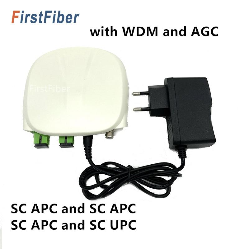 SC APC Optical Receiver SC/APC-SC/UPC With WDM And AGC Mini Node Indoor Optical Receiver With White Plastic Case