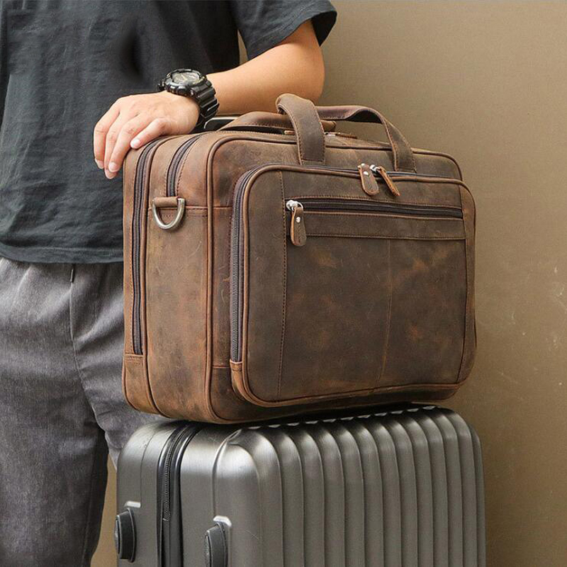 Luufan High Quality Leather Briefcase On Rolling Case Travel Briefcase Business Bag For Laptop 15.6 17 Inch Real Leather Men