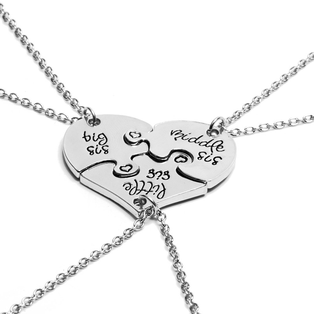 New 3pcs Little Middle Big Sister Jigsaw Broken Heart Pendant Necklace Silver Chain Necklace Best Friend Your Friend Gift image