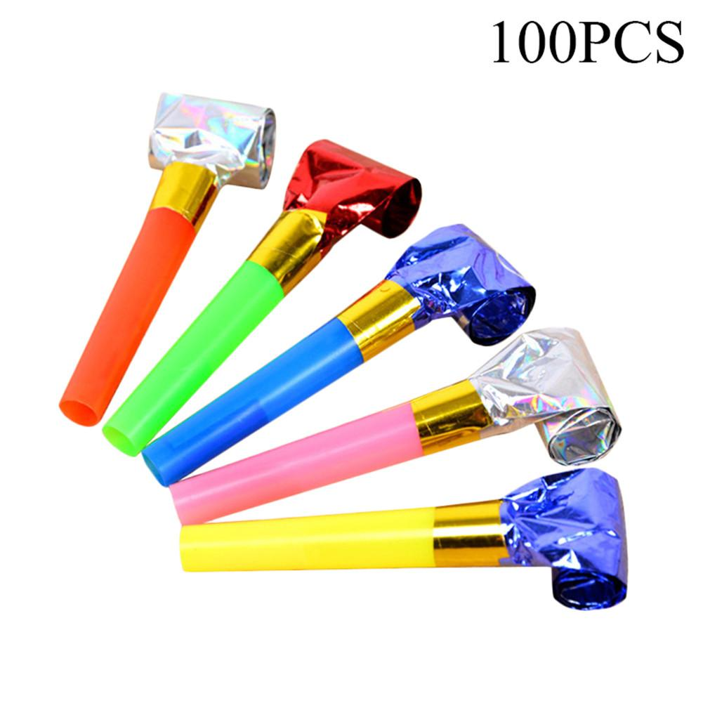 100 PCS Birthday Party Entertaining Tool Cheering Prop Small Blowing Dragon Whistle Plastic Trumpet Golden Paper Blowing Dragon