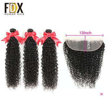 FDX 13x4 Lace 360 Lace Frontal Closure Curly Wave 3 Bundles with Frontal Closure 100% Brazilian Human Hair Remy Hair image