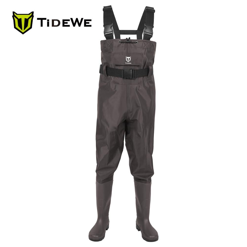 TideWe Brown Chest Waders Waterproof 2-Ply Nylon/PVC Multi-purpose Fly Fishing Hunting Waders Pants for Men and Women