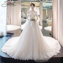 SERMENT Luxury Lace Wedding Dress Off The Shoulder Back Up Cathedral Boat Neck Tiered Watteau Train Free Custom Made