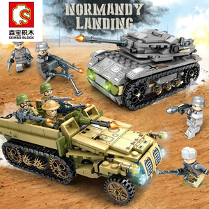 Image 2 - Sembo Building Blocks 1061pcs Military Series Helicopter ww2 Figures Weapon Gun Soldiers Tank Educational Toys for Children Gift