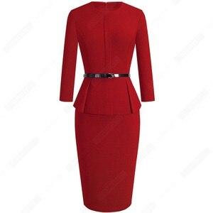 Image 3 - Automne hiver classique femmes robe daffaires élégant ceintures couleur unie moulante travail carrière robe de bureau EB473