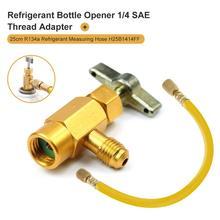 Wysokiej jakości płynny zawór bezpieczeństwa R-134a otwieracz do butelek Adapter klimatyzacja czynnik chłodniczy 1 4 #8222 Adapter bezpieczeństwa pasuje do 1 2 #8221 ACME tanie tanio CN (pochodzenie) R134A refrigerant charge hose Instalacja klimatyzacyjna 0 11kg Car A C Recharge Hose Bottle Opener Adapter