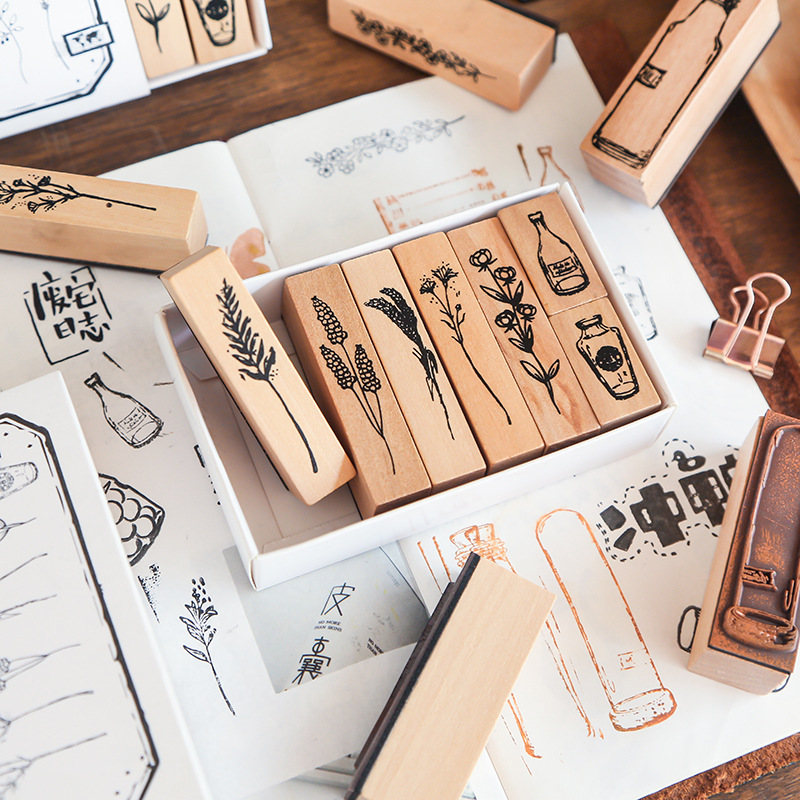 Natural Series Of Retro Plants Planner Stamp DIY Wooden Rubber Stamps For Scrapbooking Stationery Scrapbooking Standard Stamp