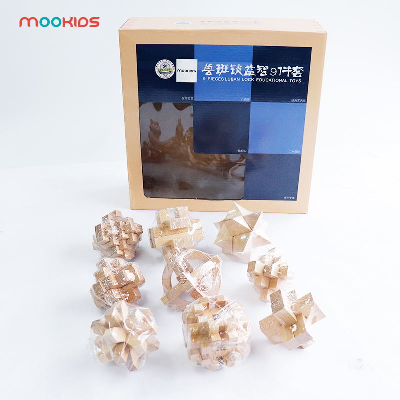 Bricolage 3D en bois Puzzle jouets Luban Lock jouet assemblage balle Cube défi IQ cerveau bois jouets jeux enfants éducation jouets