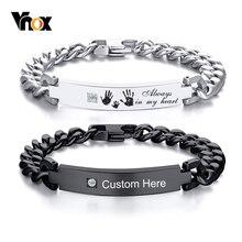 Vnox Freies Personalisierte ID Armband für Männer AAA CZ Stein Edelstahl Link Kette Armband Custom Name Inspiration Schmuck
