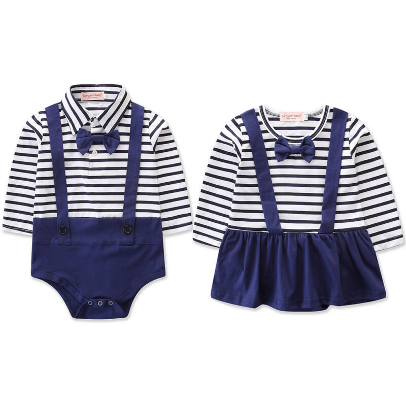 New US Stock Newborn Baby Girl Boy Navy Style Striped Romper Cute Mini Dress Jumpsuit Twins Clothes Outfits