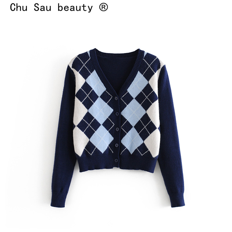 Chu Sau Beauty Autumn Winter Wear Office Lady Chic Plaid Printed Loose Sweaters Women Knitted Cardigans Elasticity Warm Tops