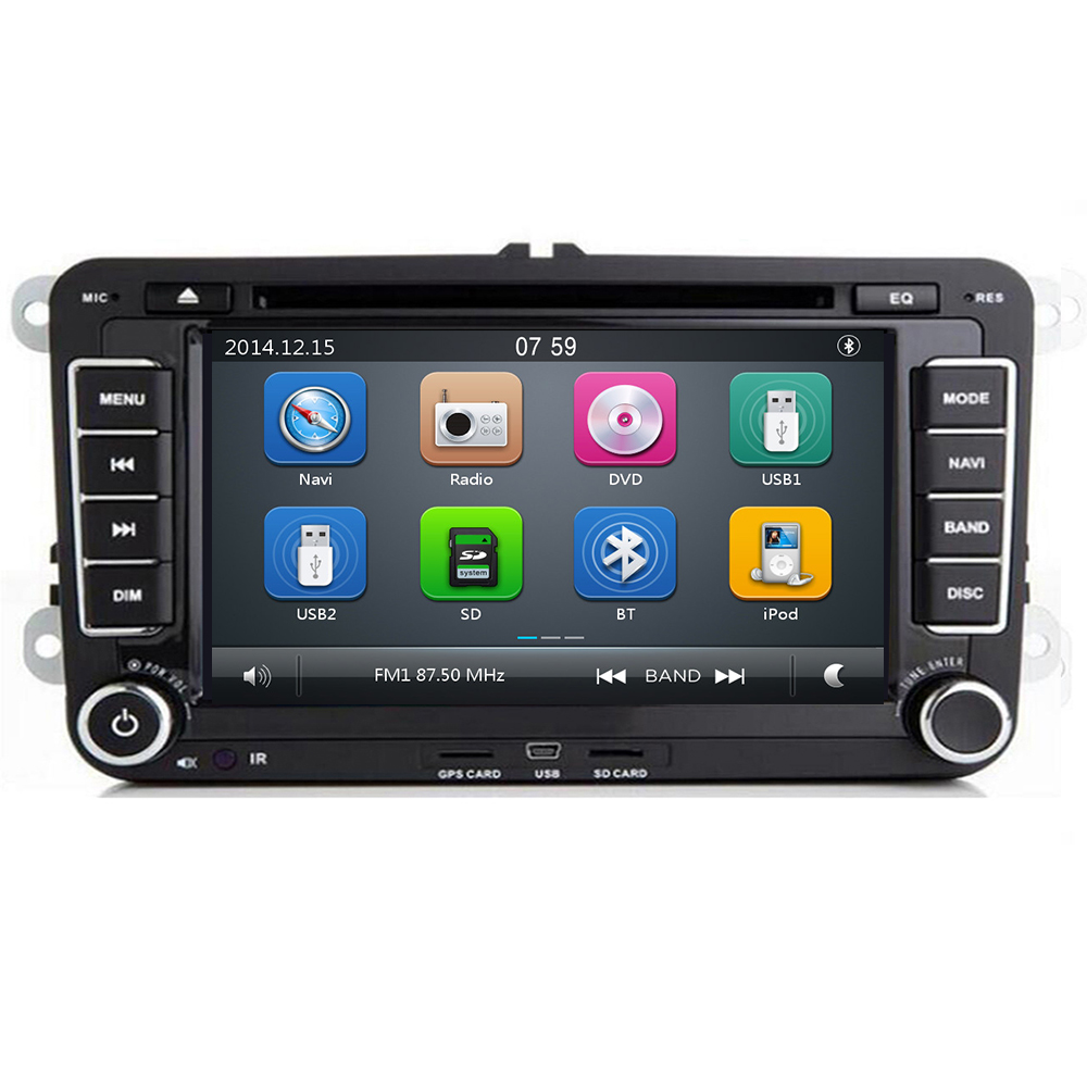 In Stock <font><b>7</b></font> inch Touch Screen 2din Car DVD FOR <font><b>VW</b></font> <font><b>Golf</b></font> Polo Jetta Passat Tiguan with 3G GPS Bluetooth Radio <font><b>USB</b></font> SD Steering wheel image