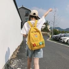 Harajuku Clear Waterproof Women Backpack Casual Nylon Travel Schoolbag Cute Flower Student Back Pack Teen Girls Bookbags Bag New
