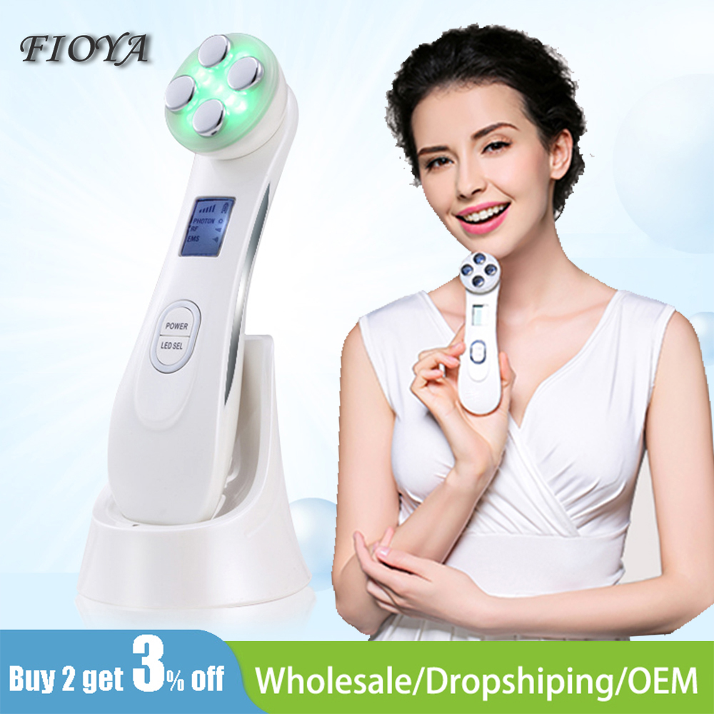 RF Radio Frequency Thermage Face Lifting Device 5 In 1 LED Photon Galvanic Spa EMS Mesotherapy Electroporation Facial Massager