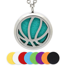 BOFEE Basketball Essential Oil Locket Necklace Aromatherapy Diffuser Pendant Stainless Steel Silver Jewelry Gift 30MM Women Men