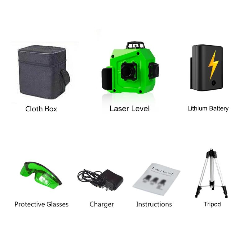 PRACMANU лазерный уровень зеленый 12 линий 3D уровень самонивелирующийся 360 горизонтальный и вертикальный крест супер мощный зеленый лазерный уровень - Цвет: cloth box tripod