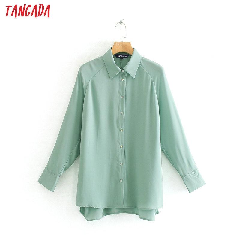 Tangada women elegant solid green blouse long sleeve oversized shirts female casual office wear chic tops blusas XN207