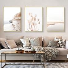 Flores secas planta bege reed trigo paisagem nórdico posters e cópias da arte da parede pintura da lona fotos para sala de estar decoração
