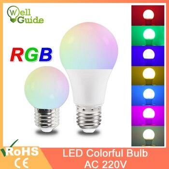 Led bulb rgb lamp A60 G45 E27 led 3W 7W Colorful light SMD 2835 220V Flashlight e27 globe bulbs for home