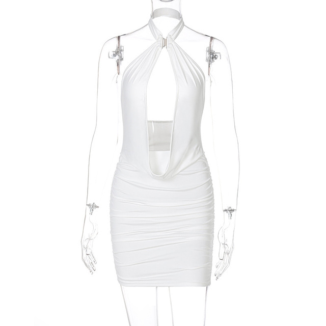 Sibybo-Vestido corto de verano sin mangas con cuello Halter para mujer, con espalda descubierta minivestido Sexy, ceñido, color blanco, 2021 6