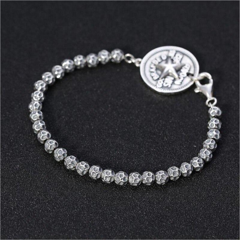 S925 argent pur créatif vent frais hommes et femmes chaîne en argent Thai argent cinq branches étoile lettre ronde hommes bracelet en argent - 2