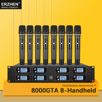כף יד מיקרופון אלחוטי מערכות למכירה UHF8 ערוץ דש הקבל עבור הכנסייה אוזניות קריוקי מיקרופוני סטודיו 8000G2 זמרים