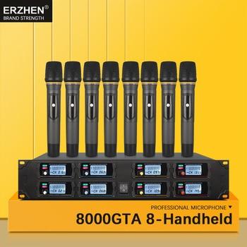 Handheld mikrofon wireless systeme für verkauf UHF8 kanal revers kondensator für kirche headset karaoke mikrofone studio 8000G2 sänger