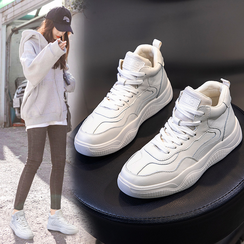 Small white shoes Women's 2020 new winter autumn Sneakers Plush high-top shoes platform casual lace-up flat Casual Single Shoes