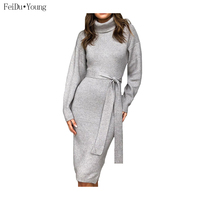 Winter High Collar Bodycon Casual Midi Dresses Women Solid Color Long Sleeve Tunic Bandage Knit Streetwear Clothes FeiDuYoung