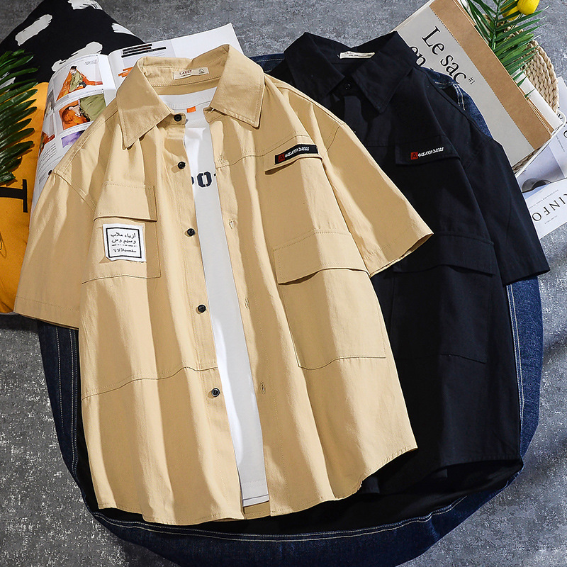 Korean Fashion Clothing Mens Solid Color Short Sleeve Tooling Dragon Shirt 2020 Summer New Men Button Up Shirt Chemise Homme Man