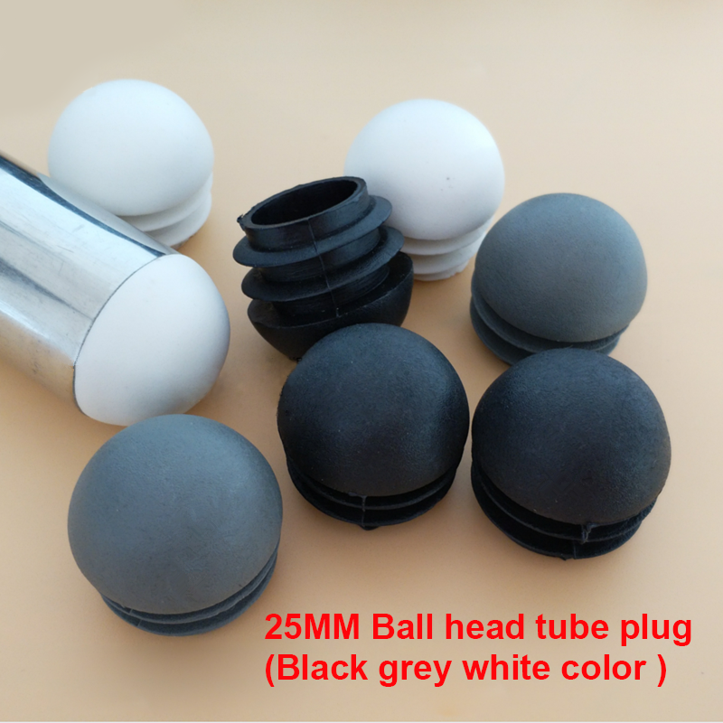 OD14 16 19 22 25 28 32 38 45 50 Mm Ball Head Round Plastic Plug Ends,blanking Tube Circular Arc Insert Ends Chair Leg Pad Cover